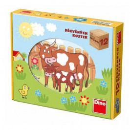 Dino Dřevěné obrázkové kostky - Kubus 12 - Domácí zvířátka