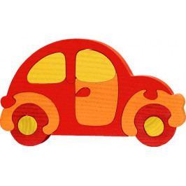 Fauna Dřevěné vkládací puzzle z masivu - Velké auto červené brouk