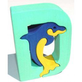 Fauna Dřevěné vkládací puzzle z masivu - Abeceda písmenko D delfín