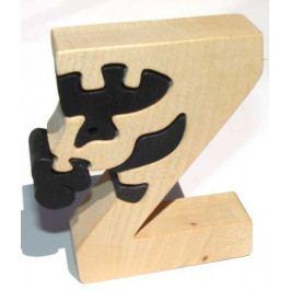 Fauna Dřevěné vkládací puzzle z masivu - Abeceda písmenko Z zebra