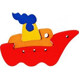 Fauna Dřevěné vkládací puzzle z masivu- vkládačka - Malá loďka