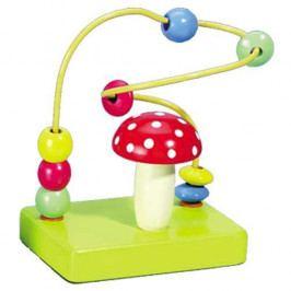 HJ Toys Dřevěné hračky -Motorické hračky-Motorický labyrint muchomůr