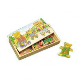 HJ Toys Dřevěné hračky - Oblékací puzzle - Šatní skříň 3 medvědi