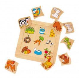 Small foot by Legler Dřevěné hračky -  Vkládací puzzle - Co zvířátka jí?