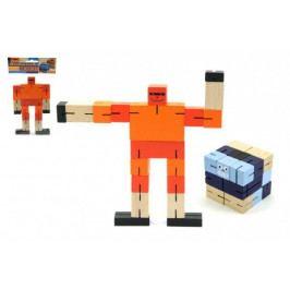 Teddies Kostka hlavolam robot dřevo 6cm modrá v sáčku