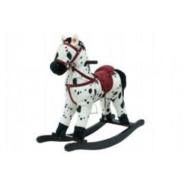 Teddies Kůň houpací bíločerný plyš na baterie 56cm se zvukem a pohybem nosnost 50kg v krabici