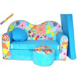 NELLYS Rozkládací dětská pohovka 09V - Květinky v modré