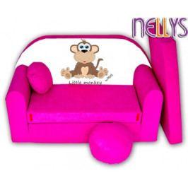 NELLYS Rozkládací dětská pohovka Little Monkey Nellys - růžová