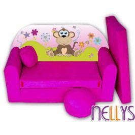 NELLYS Rozkládací dětská pohovka Opička Nellys na louce - růžová
