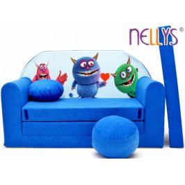 NELLYS Rozkládací dětská pohovka 54R - Příšerky v modré
