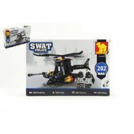 Dromader Stavebnice Dromader SWAT Policie Vrtulník 202ks plast v krabici 32x21,5x5cm