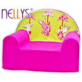 NELLYS Dětské křesílko/pohovečka Nellys ® - Zajíček a deštník v růžové