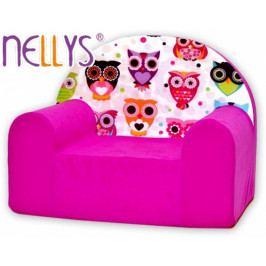 NELLYS Dětské křesílko/pohovečka Nellys ® - Malé sovičky růžové