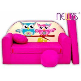 NELLYS Rozkládací dětská pohovka Nellys ® Sovičky - růžové