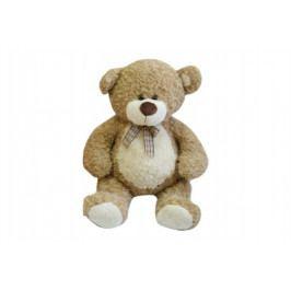 Teddies Medvěd s mašlí velký plyš 80cm béžový kudrnatý 0+