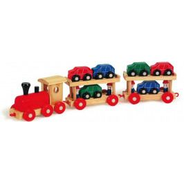 Small foot by Legler Dřevěné hračky - Dřevěný vláček s auty poschoďový