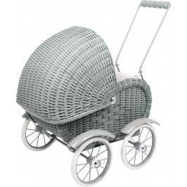 Small foot by Legler Dřevěné hračky pro holky - Kočárek pro panenky proutěný - šedý
