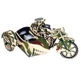Woodcraft construction kit Dřevěné 3D puzzle motorky - Motorka trojkolka-Saidkára PC124