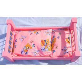 Česká dřevěná hračka Dřevěné hračky pro holky - Velká růžová postel