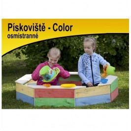 Česká dřevěná hračka Dřevěné osmihranné pískoviště s ochrannou sítí barevné