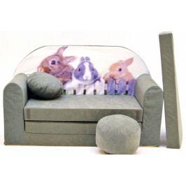 NELLYS Rozkládací dětská pohovka Nellys ® 79R - Zajíčci v šedé