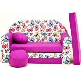 NELLYS Rozkládací dětská pohovka Nellys ® 78R - Motýlci ve fialové