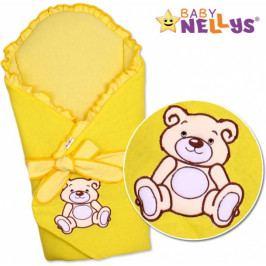 Baby Nellys Zavinovačka s výztuží Teddy Bear - velur - žlutá
