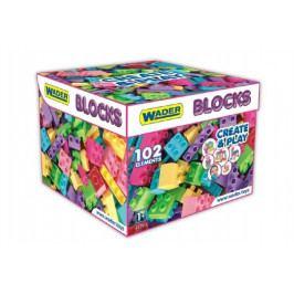 WADER Kostky stavebnice pro holky plast 102ks v papírové krabici 28x28x20cm Wader 12m+