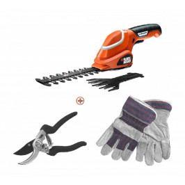 SET nůžky na trávu, nůžky na stromky a rukavice Black & Decker GSL700KIT