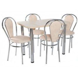 Jídelní set 4 židle + obdélníkový stůl 60 x 100 cm Alaska bílá