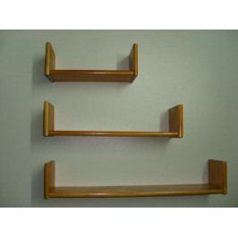 Levná dřevěná polička na zeď sada 3 kusů Borovice
