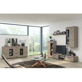 Moderní obývací stěna s komodou, model Moderkom Dub Sonoma