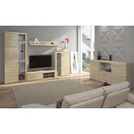 Velká obývací stěna s komodou, model Pireskom Bílá