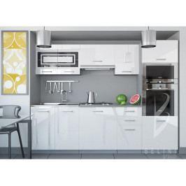 Bílá sektorová kuchyňská linka Luxe 240 cm bez LED osvětlení