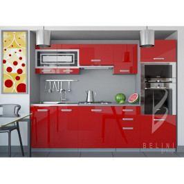 Červená sektorová kuchyňská linka Luxe 240 cm bez LED osvětlení