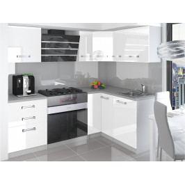 Rohová kuchyňská sestava bílá Janka 01 - Krátká úchytka