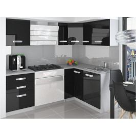 Rohová kuchyňská sestava černá lesk Janka 01 - Krátká úchytka