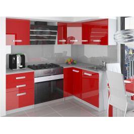 Rohová kuchyňská sestava červená lesk Janka 01 - Krátká úchytka