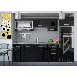 Sektorová černá kuchyňská linka Luxe 240 cm bez LED osvětlení