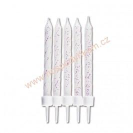 Dortové svíčky bílé třpytivé