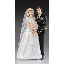 Figurka na dort - nevěsta a ženich s kyticí růží