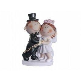 Figurka na dort - nevěsta a ženich s pohárky