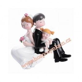 Modecor Figurka na dort - nevěsta a ženich s holčičkou