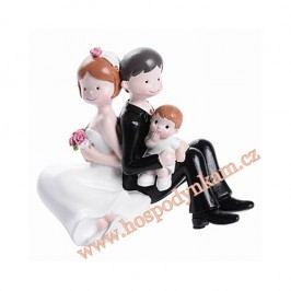 Modecor Figurka na dort - nevěsta a ženich s chlapečkem