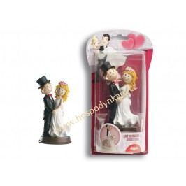Figurka na dort - nevěsta a ženich se širokým úsměvem