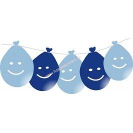 Balónky smajlík LED svítící, modré 5ks