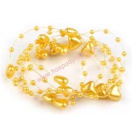 Srdíčka na vlasci zlatá