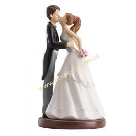 Figurka na dort - nevěsta a ženich veselý polibek