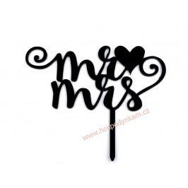 Svatební dekorace na dort Mr. a Mrs. černá