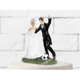 Figurka na dort - nevěsta a ženich fotbalista